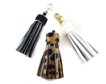 Medium Calf Hair Tassel | Cheetah | Leopard | Animal Print | Handbag Accessory | Hair On | Spotted | Keychain | Keyfob | Handmade