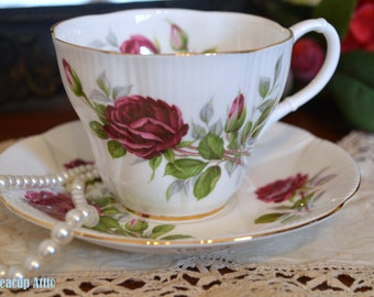ON SALE Royal Albert Royal Canadian Rose Teacup and Saucer Set, Bone China Teacup and Saucer, Porcelain Teacup, Wedding Gift, ca. 1968-1978