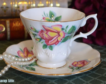 "Royal Albert Sweetheart Roses ""Anne"" Teacup And Saucer Set, English Bone China, Wedding Gift, Garden Party, c.1960-1970"