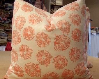 "Schumacher Lu Lu DK Coral ""FIRECRACKERS"" Cotton Print Custom Pillows Pair - Beacon Hill Coral ""ELCOT"" Italian Back - 20"" Square"