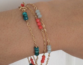 Multi Colored Gemstone Beaded Gold Bracelet also available in Silver and Rose Gold