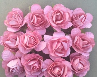 Set Of 12 Dusty Pink Mulberry Paper Roses