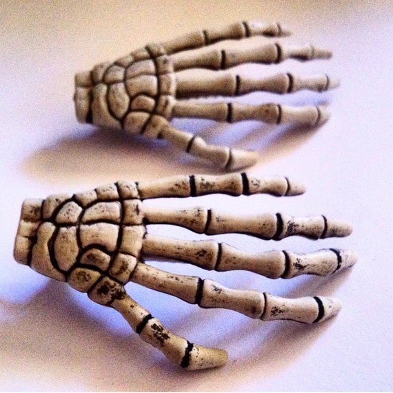 Set Of Two Skeleton Hand Clips