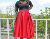 Dark Red Midi Skirt With Pockets- available in 12 colors