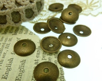 20 smooth top antique bronze 10 mm bead caps