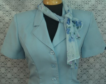 Size 8 light Blue Set skirt jacket scarf,  jacket and skirt  SET Flower print and scarf to match