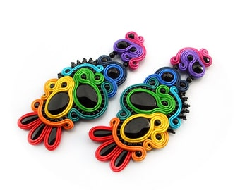 RAINBOW CHIC! Soutache colorful earrings - hand made jewelry, unusual and glamorous - Night Rainbow