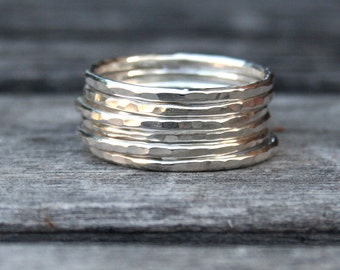 Sterling Silver Hammered Stacking Ring Set