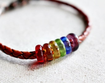 Rainbow Recycled Glass Bead Leather Beaded Jewelry Boho Rustic Colorful Mulicolored Braided Woven