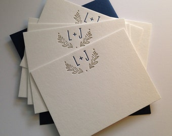 Personalized Initial Cards - Letterpress - Wedding Thank Yous - Bridal Shower Gift - Wedding Present - Custom Stationary