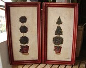 pair hand-painted, framed vintage topiary tree paintings on wood acrylic/watercolour