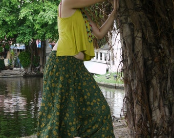 Thai Harem Pants in Cotton, Warm, Special Fabric Design Yellow Flowers on Green, Heavy Fabric - Drop Crotch Style