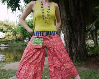 Thai Wide Leg Pants in Cotton, Batik, Pink w Green&Blue Royal Design Tribal Waistband - women clothing - yoga pants - comfy pants - hippie -