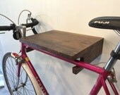 Cantilevered Edge Bike Rack in American Walnut with Upcycled Spoke Gear Hooks. Free Shipping.