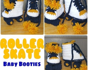 Crochet Roller Skate Baby Booties / Shoes - MADE - TO - ORDER Only