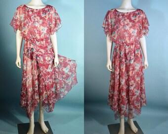 "Vintage 70s Sheer Floral Flutter Sleeve Gypsy Boho Chic Midi Dress/ Bohemian Hippie Disco Dress/ 22"" - 28"" Waist"