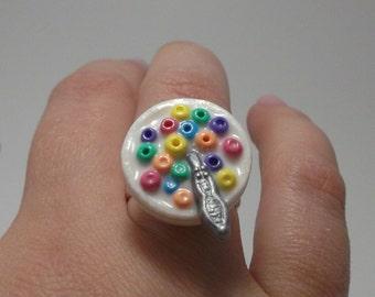 Fruit Loops Ring - Big Bowl Cereal Adjustable Silver Ring