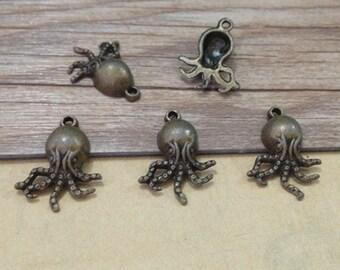 20pcs Antique bronze octopus charm pendant  15mmx21mm