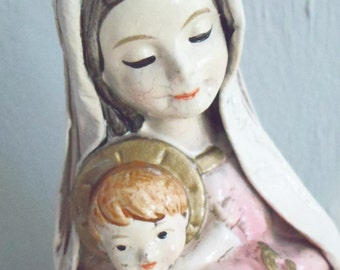 Handcrafted Schmid Bros Paper Mache' Madonna and Baby Jesus Figurine
