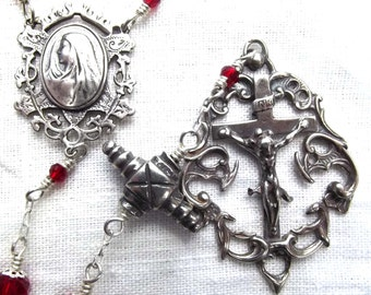 Sterling Handcrafted Heirloom Wire Wrapped  Rosary with Credo Medal and Fancy Crucifix Wirewrapped