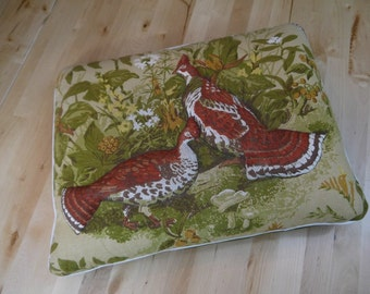 Vintage Raised Bird Throw Pillow