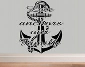 Love anchors our family nautical wall decal living room bedroom decal home decor summer decor vinyl decal anchor ship decor family love