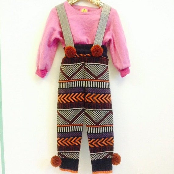 STEP 4-5 Years Kids Childrens Dungarees Onesie Playsuit Trousers Pants Upcycled Acrylic Wool mix Unisex