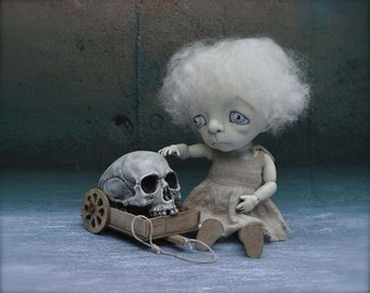 Giclee Fine Art Print. Dark Alley BJD Art Doll with a Skull.