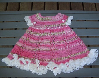 Dress,Crocheted,Girls,Baby,Pink,Green,Gift,Photo,Infants,Thread,Newborn,Three Months,Clothing