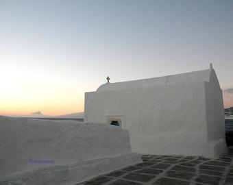 Blue summer Greece - Mykonos travel photo, Sunset photo print,  summer photo print, summer home decor, wall decor, white church