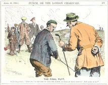 Original Vintage Golf Print from The Punch Magazine Dated 1912 A Hand Coloured Engraving of The Final Putt. A Perfect Gift for a Golfer