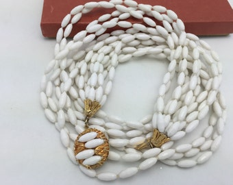 White Necklace white beaded necklace multi strand necklace Vintage Necklace Box Clasp