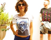 Skull military sailor 1950s vintage inspired white croptop tshirt loose fit and scoop neck