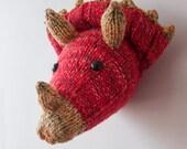Dinosaur Head - Children's Hand Knitted Triceratops Wall Art
