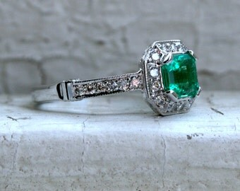 RESERVED - Vintage 18K White Gold Diamond and Emerald Engagement Ring - 1.76ct.