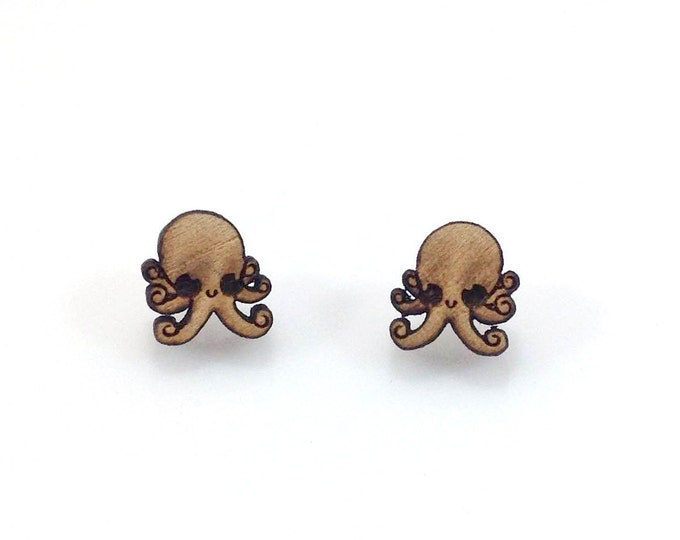 Cute Octopus Earrings | Laser Cut Jewelry | Hypoallergenic Studs | Wood Earrings