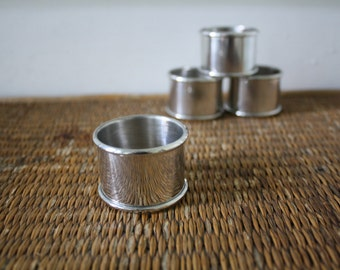Vintage stainless steel napkin rings, spring entertaining, set of four