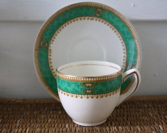 Vintage cups and saucers, turquoise, Morley Ware, England, Savoy