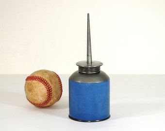 Vintage Oil Tin Oil Can Two Toned Blue Gray Thumb Pump Oiler