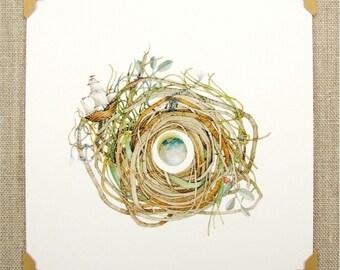 sailing ship nest art mini reprint whimsical art reproduction earth globe travel adventure