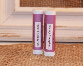 2 Tubes - Raspberry Cream Shea Butter & Beeswax Lip Balm - Lanolin Free