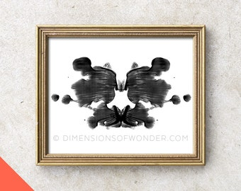 Printable Rorschach Art (INSTANT DOWNLOAD) Rorschach ink blot, Rorschach stains, psychology, gift for psychologist, psych student, black.