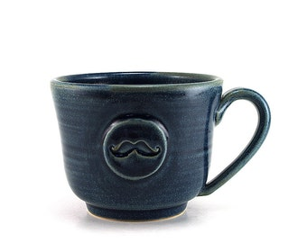 Blue Mustache Coffee Mug Handmade Gift for Men Ready to Ship