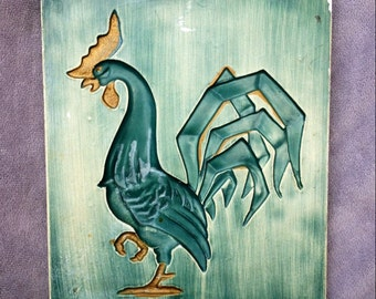 Green Chalk Ware Rooster Plaque