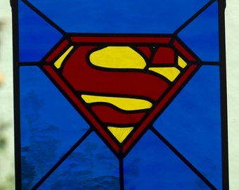 Superman Stained Glass Panel
