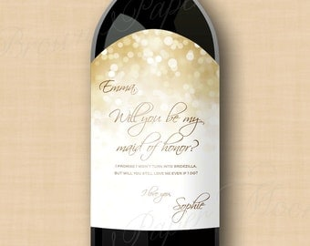 avery wine label templates - white gold sparkles water bottle labels text editable