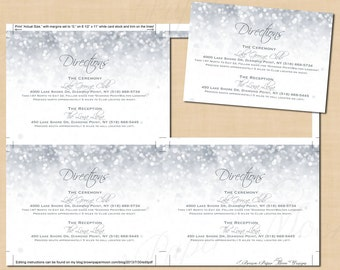 Silver Shimmer Wedding Invitation Directions Inserts (5x3.5): Text-Editable, Printable, Instant Download