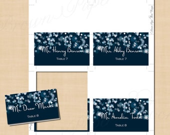 Sparkly Stars On Water Place Card Tent (3.5x2): Text-Editable in Microsoft® Word, Printable on Avery® 5302, 5820 or 8820, Instant Download