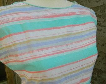 Pastel Striped Vintage Maxi Dress / 1970s Evelyn Pearson Dress / Full- Length Maxi Dress / Pink, Green, Blue, White, Yellow Size Medium