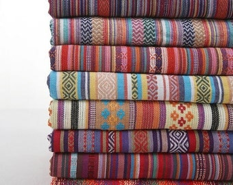 Colorful Stripe Cotton Fabric Fabric BOHO Bohemian national Style Garment Bag Chair Cushion Fabric- 1/2 Yard (QT451)